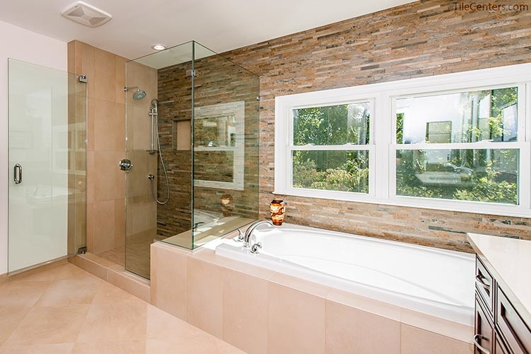 Transitional Style Shower and Bathtub