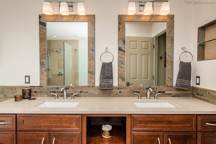 Double Sink Vanity with Surround Tile
