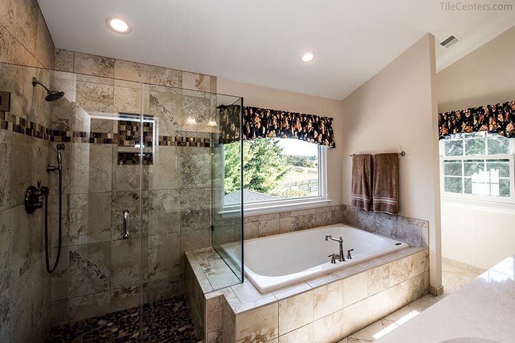 Traditional Bathroom Remodel with Beige Tile