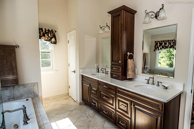 Dark Brown Bathroom Vanity with Extra Cabinets