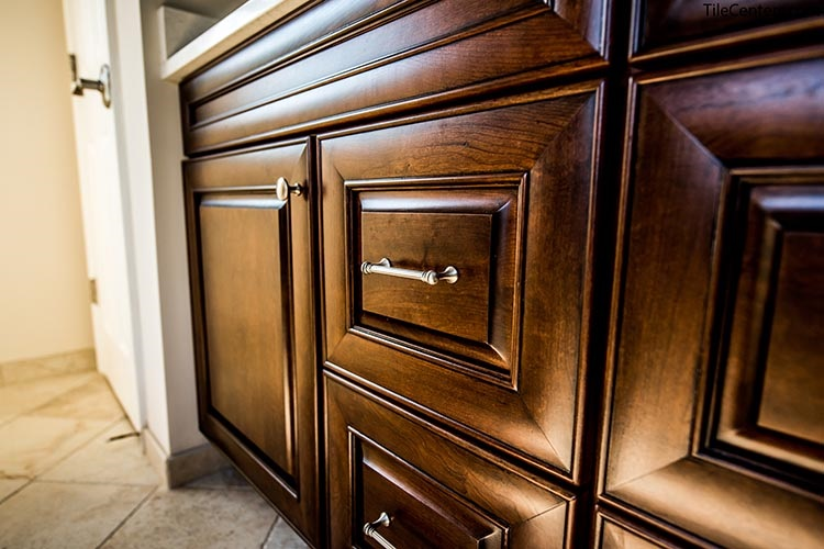 Dark Brown Bathroom Cabinet Up Close