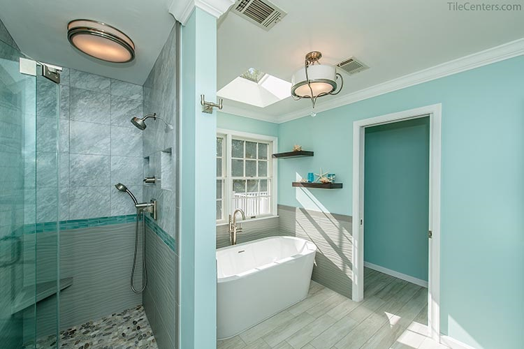 Bathroom remodel with shower enclosure and stand alone tub