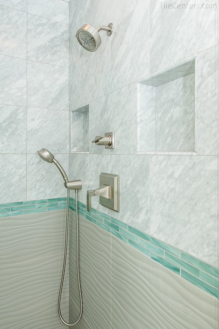 Shower wall tile with two shower niche