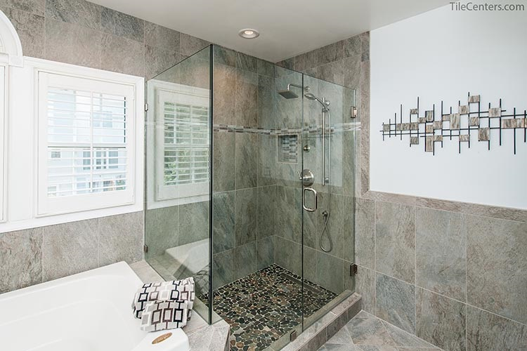 Grey Tile Standing Shower with Stone Floor