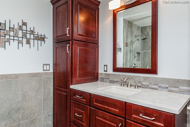 Red Brown Bathroom Vanity with Extra Cabinets