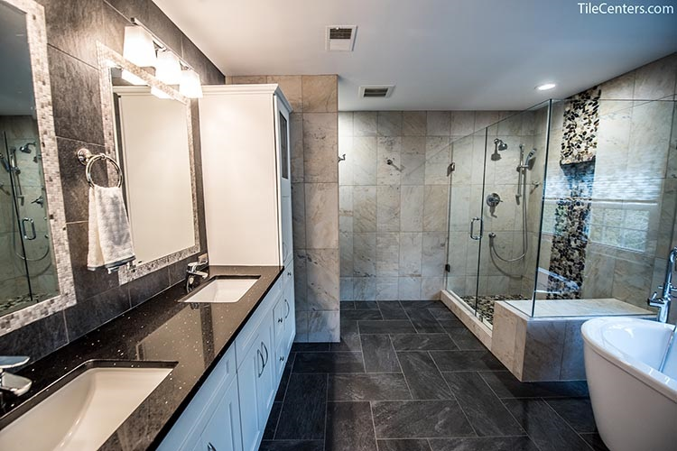 Beige and Black Master Bathroom Remodel