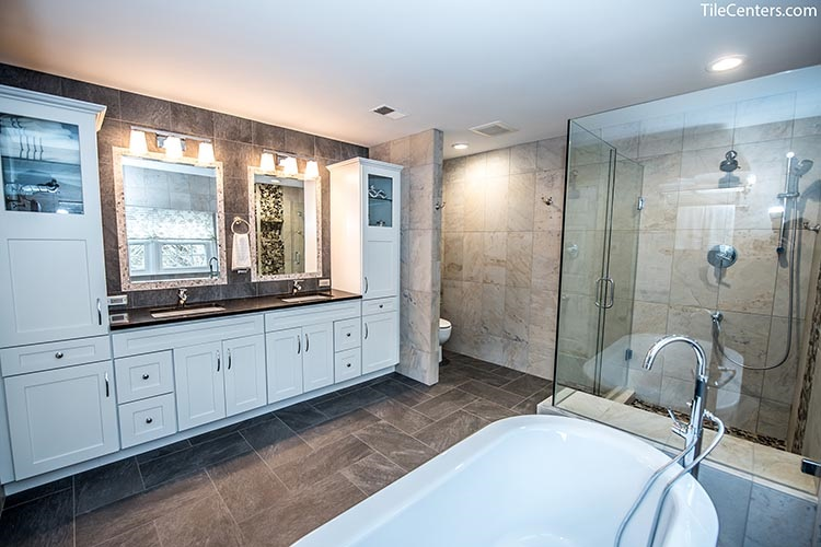 White Bathroom Vanity with Extra Cabinets