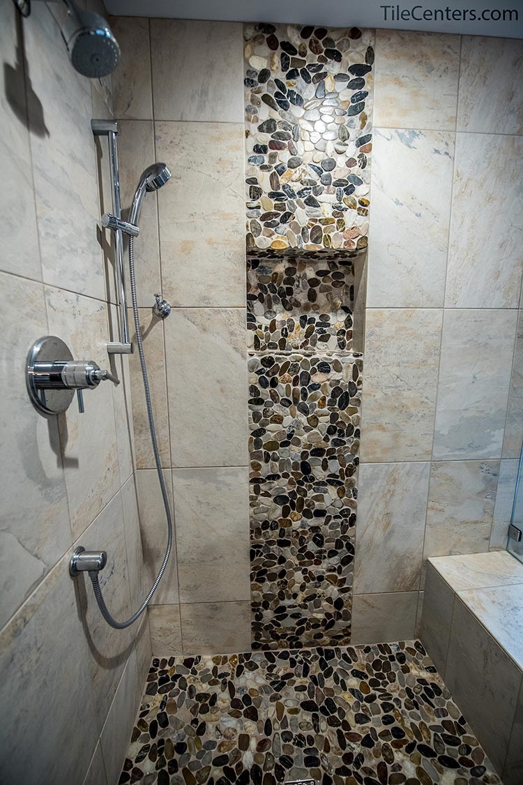 Grey Shower Tile with Stone Waterfall Accent
