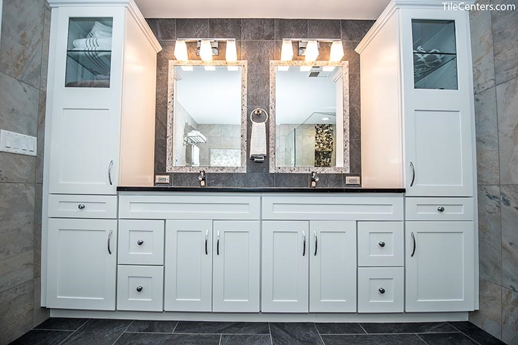 White Vanity with Extra Cabinet Storage
