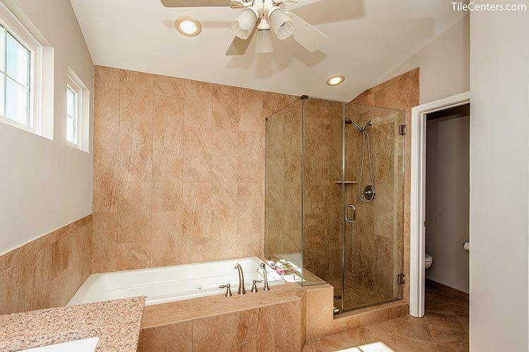 Beige Bathroom Wall Tile with Bathtub and Shower