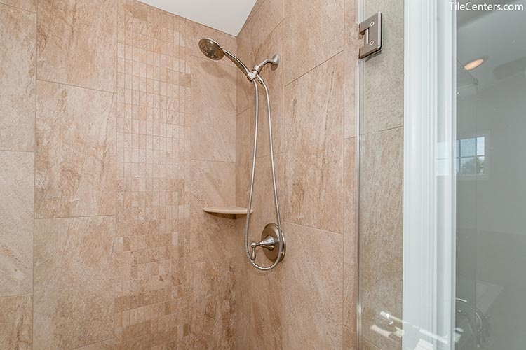 Beige Shower Tile with Brushed Nickel Faucet