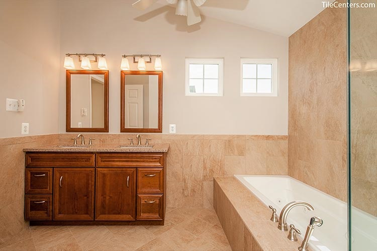 Traditional Bathroom with Brown Vanity and Beige Tile