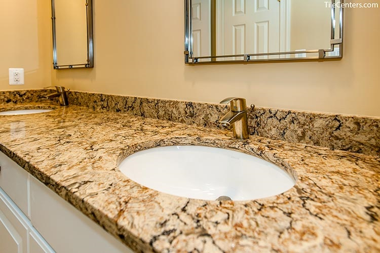 Multicolor Countertops with Brushed Nickel Faucets