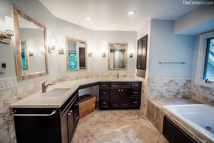 Bathroom mirror with tile borders - Gaithersburg, MD 20882