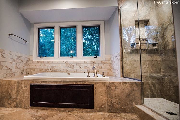 Bathtub and shower combination in bathroom remodeling - Gaithersburg, MD 20882
