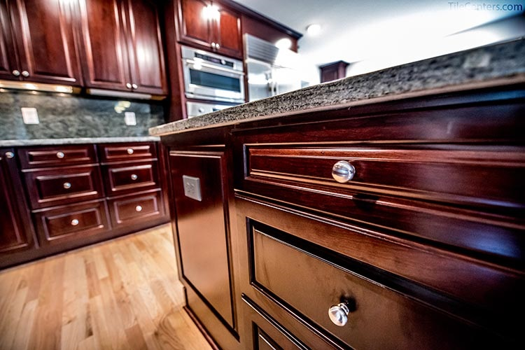 Red Brown Kitchen Cabinet Close Up