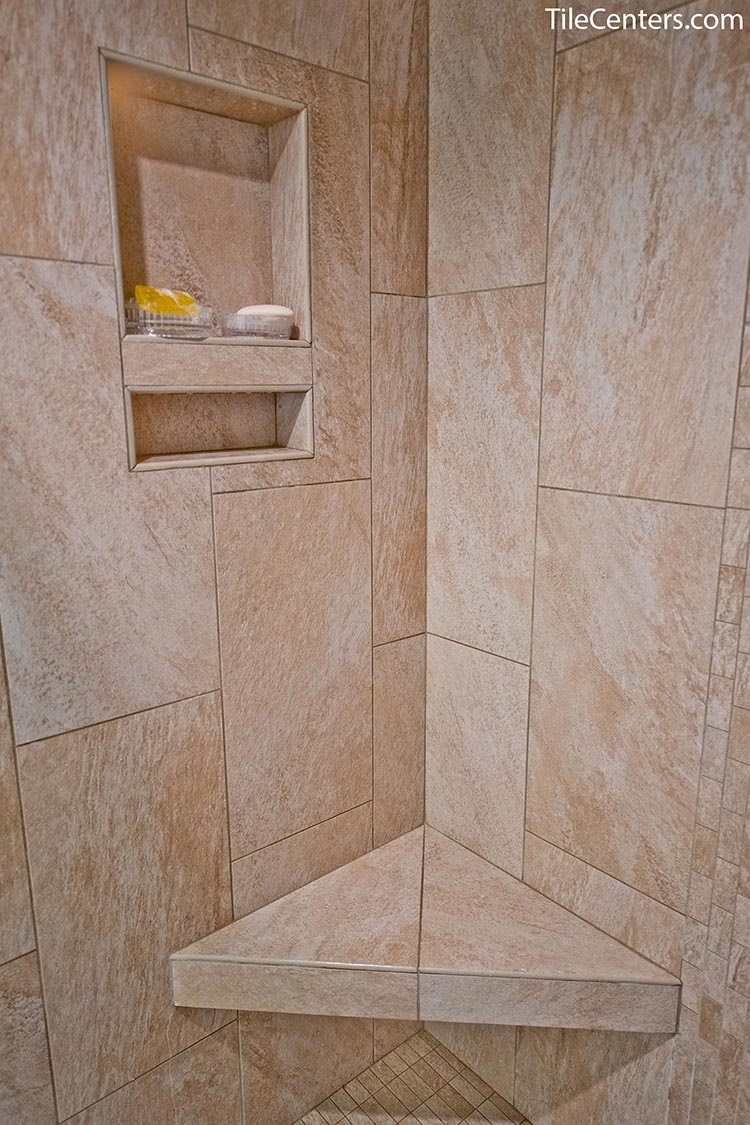 Functional shower remodeling with shower bench and shower niche - Potomac, MD 20854
