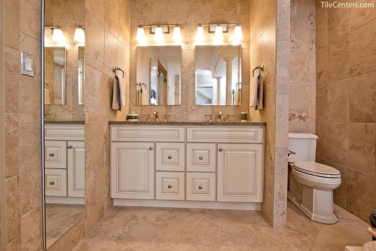 Traditional Bathroom Remodel with White Cabinets