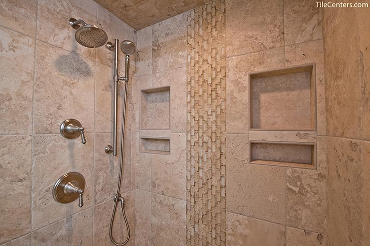 Beige Tile Shower with Waterfall Pattern