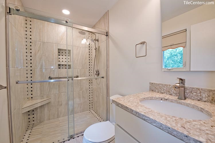 Natural style beige color shower with glass door - Brookeville, MD 20833