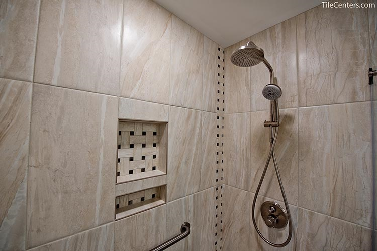 Natural stone tile design with shower niche - Brookeville, MD 20833