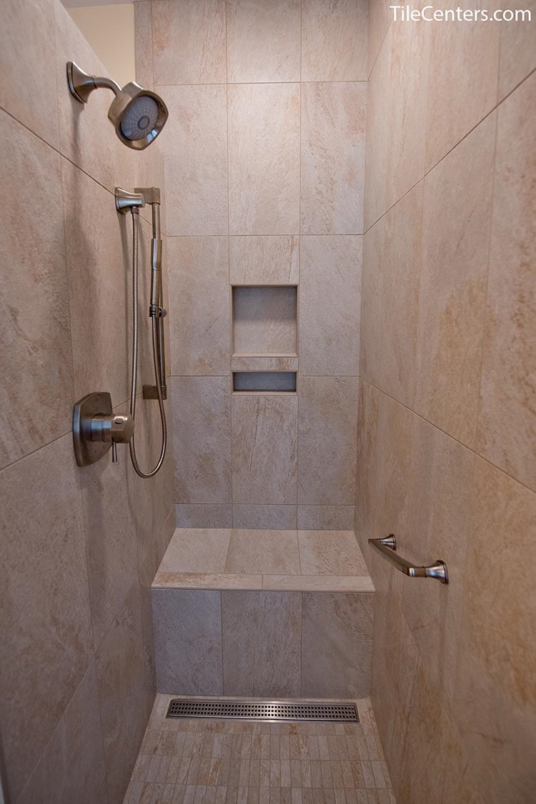 Practical bathroom shower with bench - Frederick, MD 21704