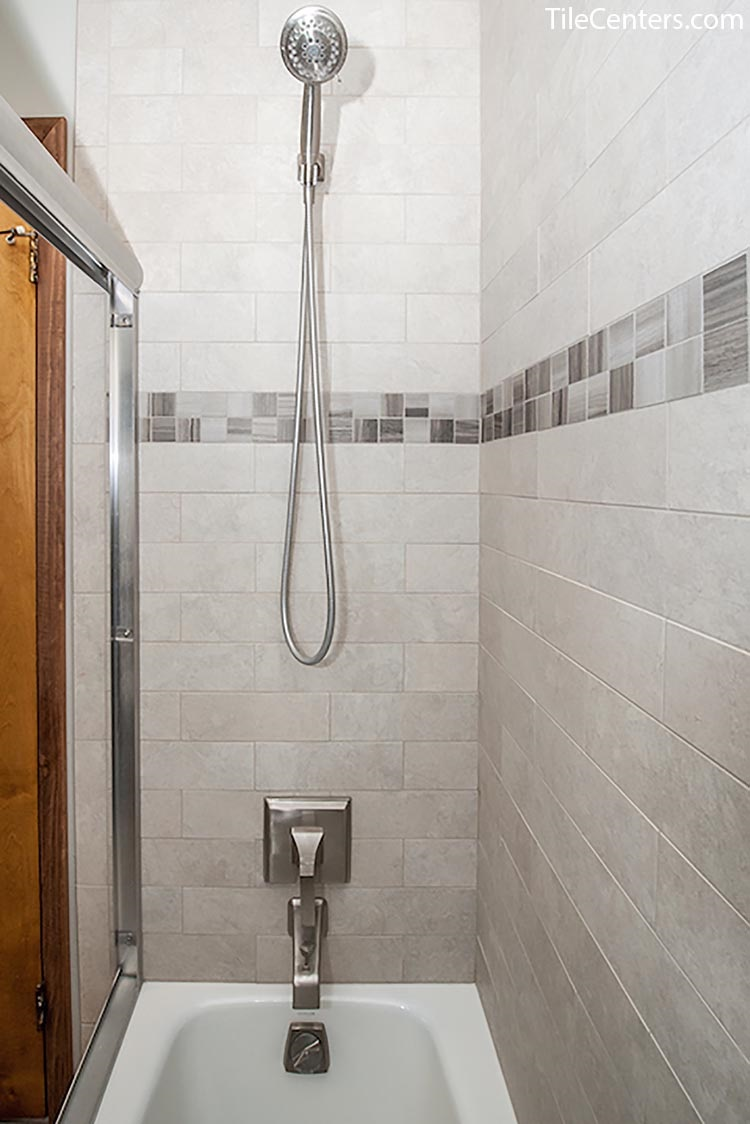 Grey Tile Modern Shower with Tub