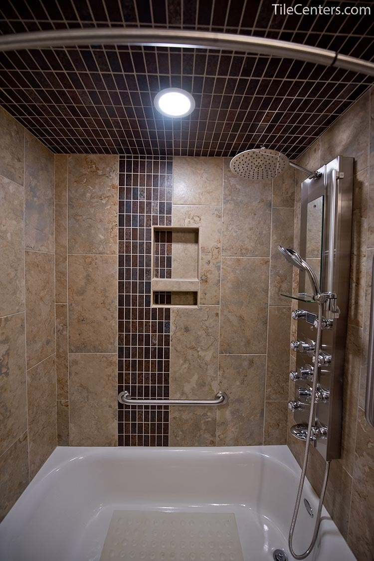 Beige and Grey Shower with Bathtub