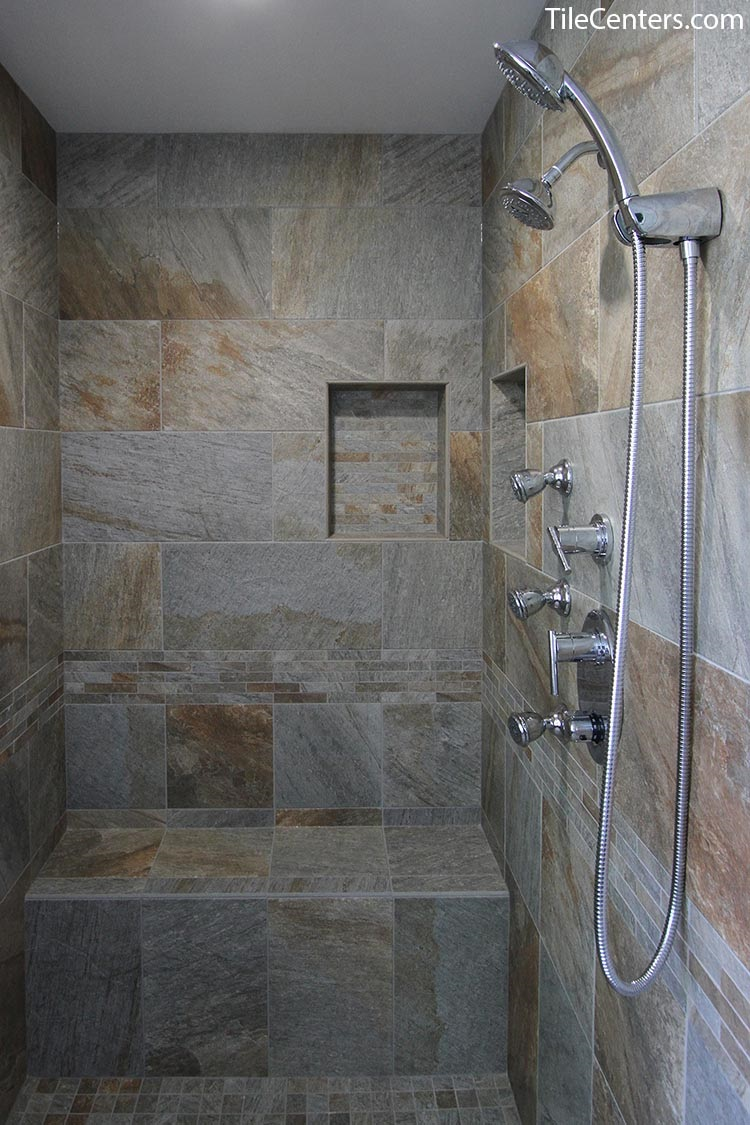 Shower with Grey Tile, Seat, and Niche
