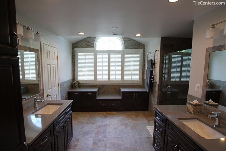 Transitional Bathroom Remodel with Dark Brown Cabinets