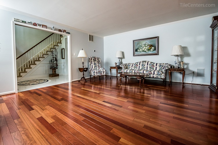 Living Room Brazilian Cherry Hardwood Floor Installation