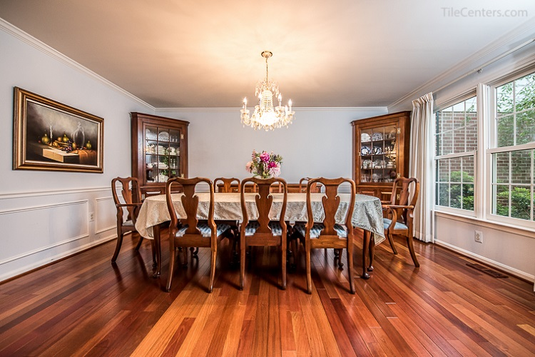 Dining Room Brazilian Cherry Hardwood Floor Installation
