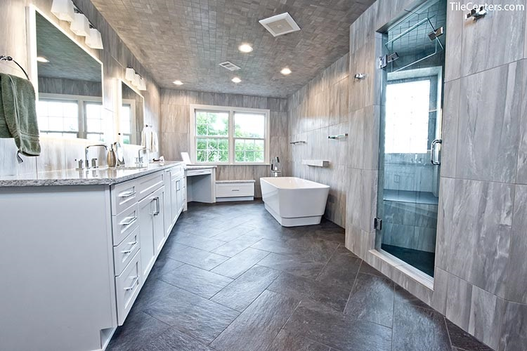 Grey Modern Bathroom Remodel