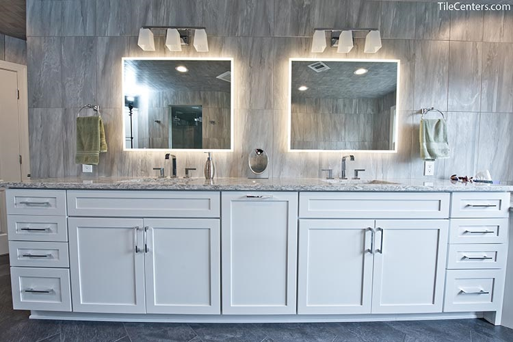 White Bathroom Cabinet Vanity with Backlit Mirror