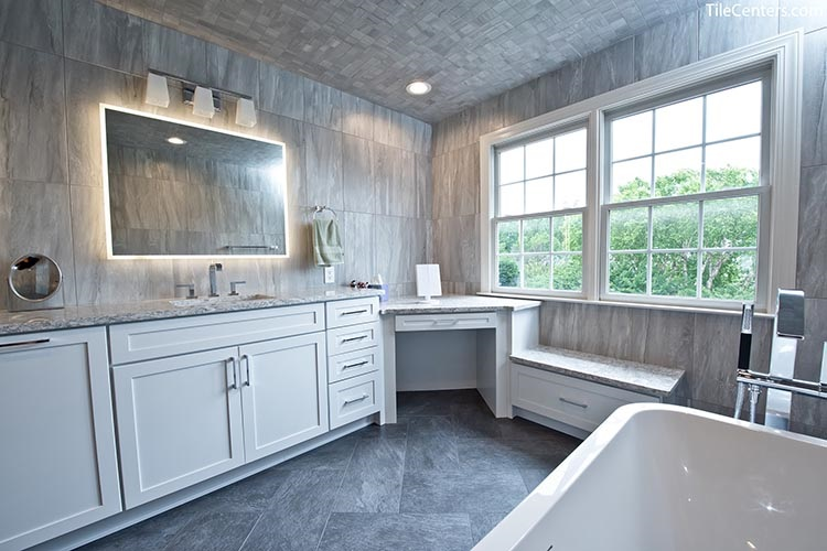 Extra Bathroom Countertop Space and Freestanding Bathtub