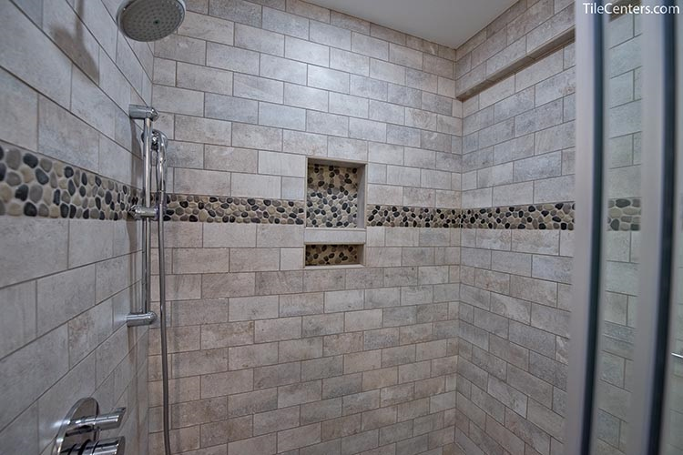 Standing Shower with Grey Tile and Stone Tile