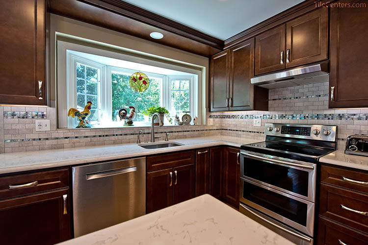 Brown Kitchen Cabinets with Natural Lighting