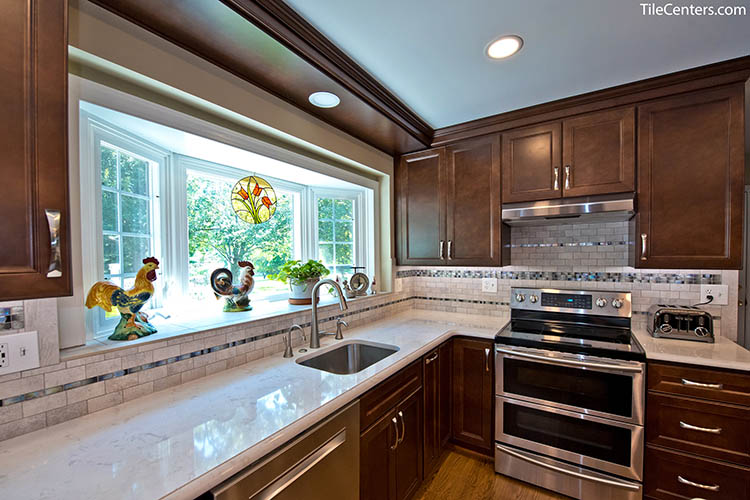 Transitional Kitchen Remodel with Brown Cabinets