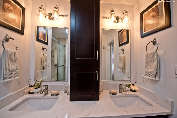Bathroom Vanity with White Grey Countertop and Dark Cabinets