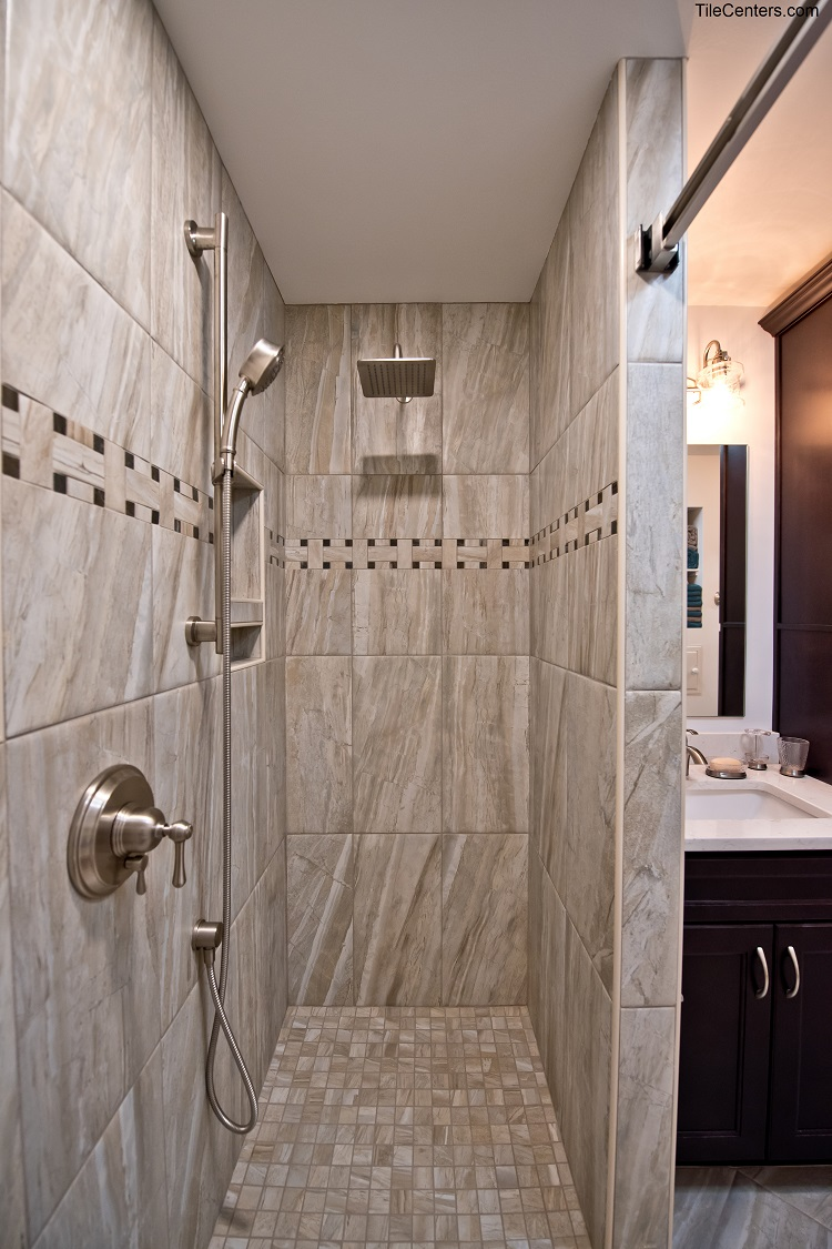 Hidden Shower with Ash Tile and Brushed Nickel Shower Faucets