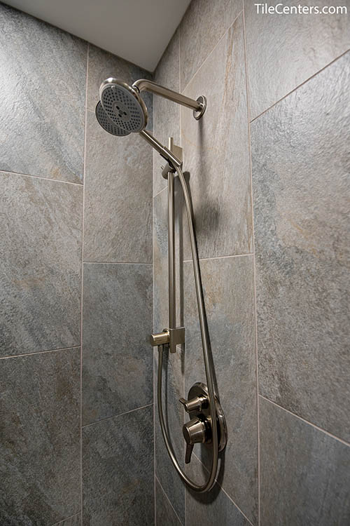 Brushed Nickel Shower Faucet Up Close