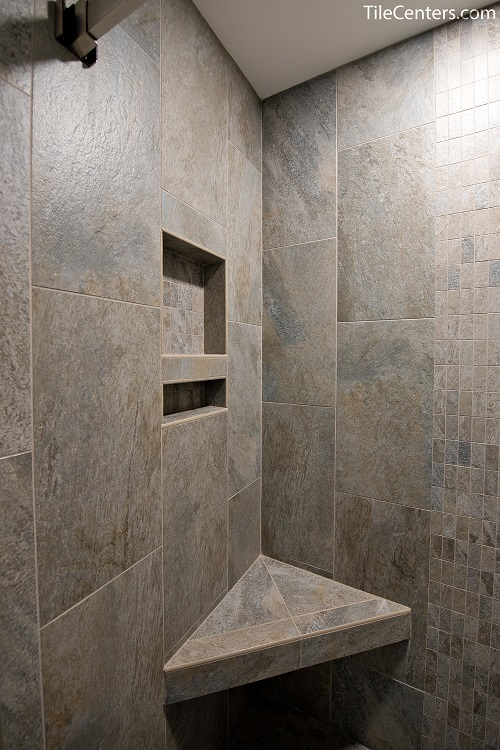 Grey Tile Shower Seat