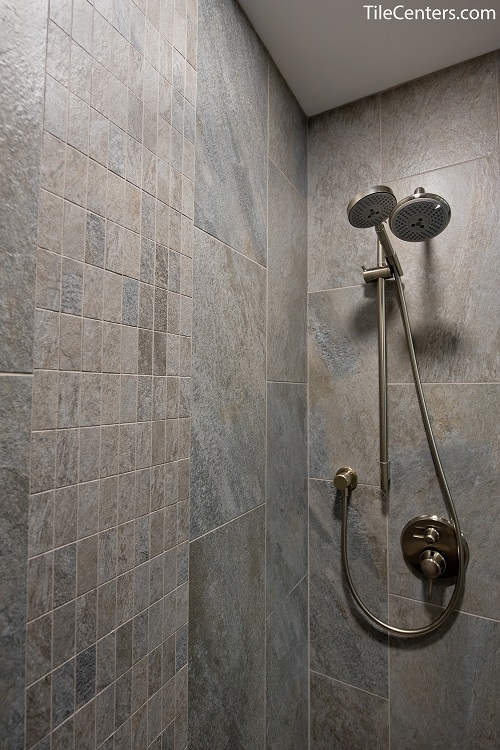 Grey Shower Tile with Brushed Nickel Shower Faucet