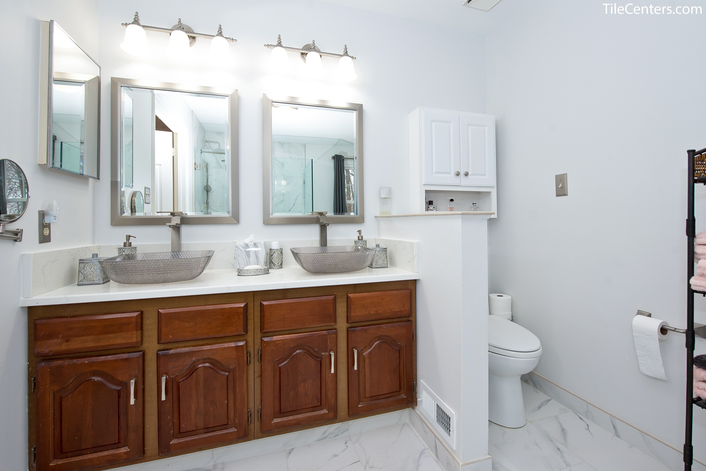 Modern Master Bathroom Remodel - Marble Look Design