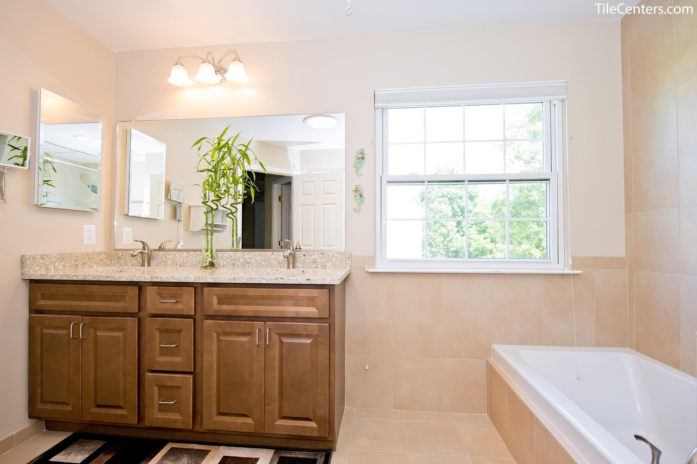 Traditional Beige Bathroom Remodel Gallery Design Ideas