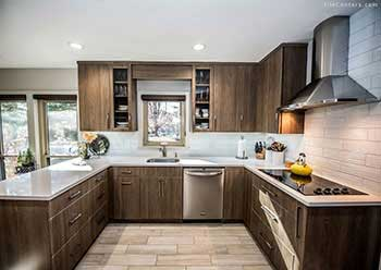 Contemporary kitchen remodel with wood look tile floors