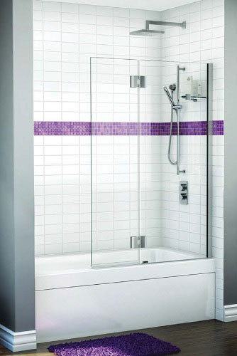 Tile tub surround with sliding door