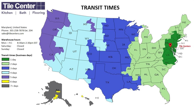 Tile Center Transit Times