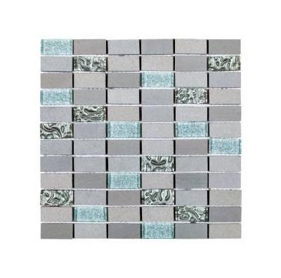 "Grey/Silver Glass and Grey Stone Brick 7/8""x 2"" Mosaic"